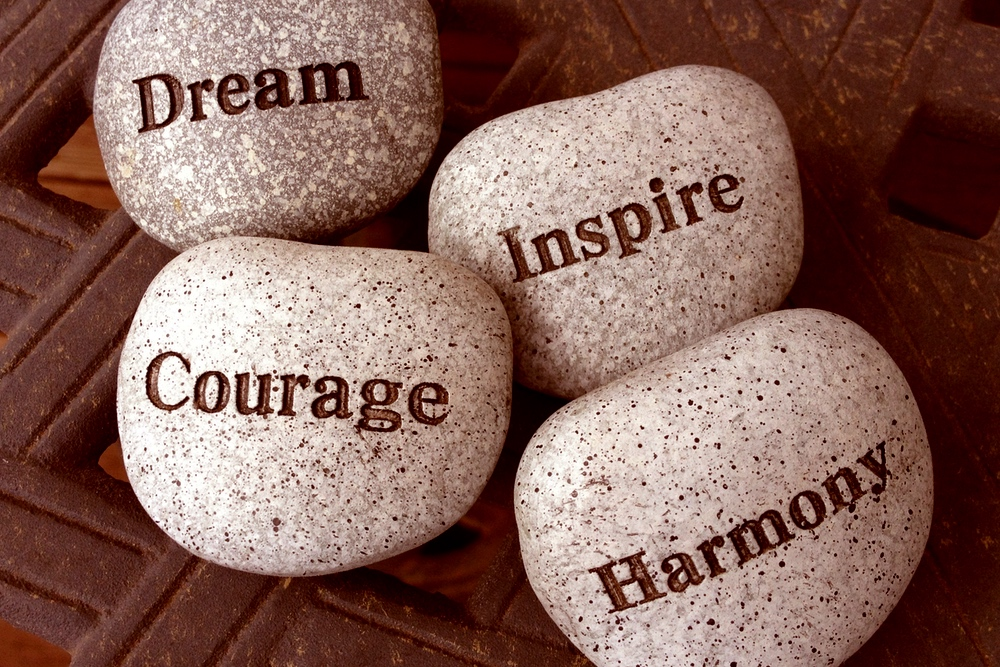 stones with the words courage, inspire, dream , etc written on them